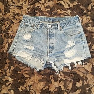 Vintage Levi 501 distressed shorties. W30